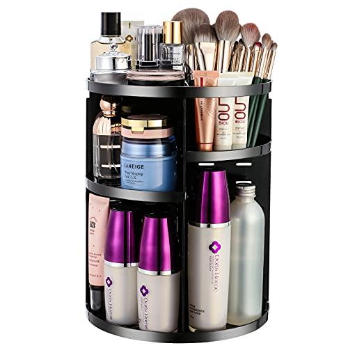 Hollamile Makeup Organizer 360 Rotating Perfume Organizer Large Capacity Beauty Organizer 7 Layer Adjustable Carousel Spinning Storage Fits Cosmetics Brushes Dresser Bedroom Bathroom Countertop Black