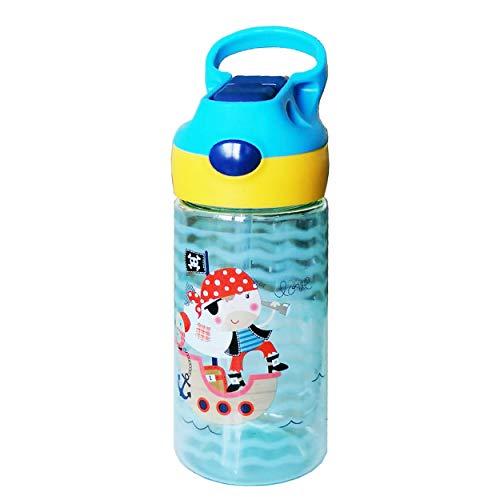 ZT Botella de Agua para Niño decoradas, 450ml, Botella a prueba de Fugas, Botella Agua con Pajitas, sin BPA. (pirata)