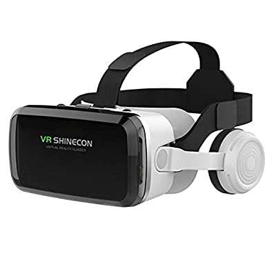 """VR SHINECON Headset +Bluetooth 3D Glasses Goggles HD Virtual Reality Headset Compatible with iOS & Android Phone Eye Protected Soft & Comfortable Adjustable Distance for Phones 4.7-6.7""""[2021 Newest]"""