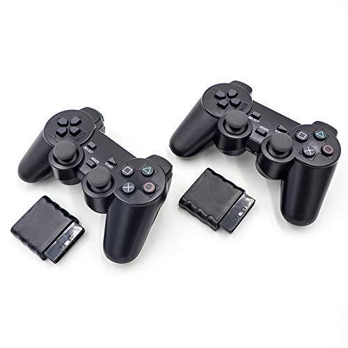 Lot de 2 manettes de jeu sans fil RF avec vibration pour Playstation 2 PS2
