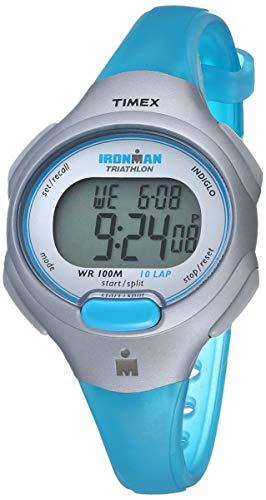 Relógio Timex Ironman Essential com pulseira de resina de tamanho médio, Turquesa/prateado