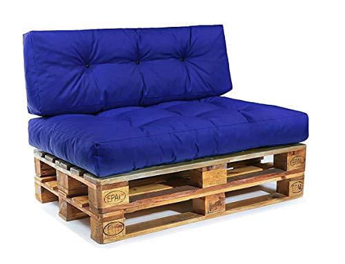 Easysitz Palettenkissen Set Palettensofa Palettenpolster Palettenauflagen Sofa Kissen Polster Auflage Indoor Outdoor Gesteppt für 120 x 80 cm Europaletten (Set 1: Sitzkissen + Rückenkissen - Blau)