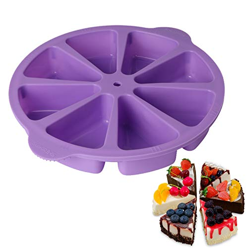CEVENT 1PC 8 Cavity Scone Pan,Donut Pan for Baking Triangle Silicone Baking Pan,Doughnuts Biscuit Cake Baking Tray Maker Pan,Baking Molds(purple)