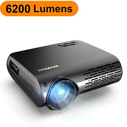 Proyector, WiMiUS 6200 Lúmenes Proyector Full HD 1920x1080P Nativo Proyector Video Compatible 4K Sonido Dolby Ajuste Digital 4D 90,000 Horas Proyector LED para Cine en Casa y Presentación Empresarial