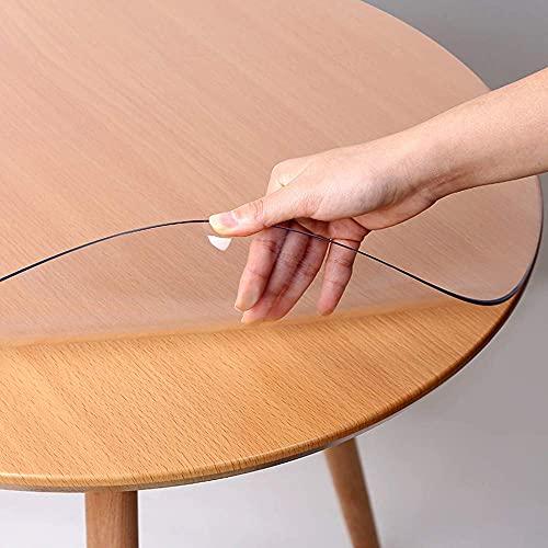 Mantel redondo de pvc transparente, protector de mesa de vinilo, cubierta de mesa gruesa transparente a prueba de aceite impermeable para mesa de centro redonda almohadilla de escritorio mesas de com