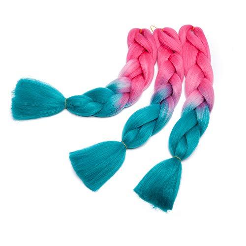 Braids Extensions Flechten Hair Extensions Crochet Haar Kunsthaar Kanekalon Colorful 1pcs-24'-100g Pinkish Red & Lake Blue