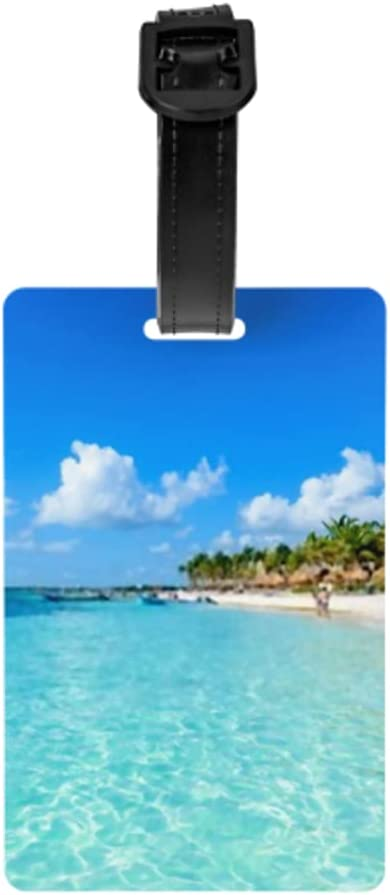 Etiquetas para equipaje Juego de 2, Riviera Maya Paradise Beaches Cancún Quintana Tarjetas de identificación de equipaje con correa de muñeca desmontable y tarjeta de dirección para bolsa de viaje Ma