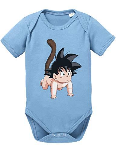 Tee Kiki Son Baby Body Dragon de algodón orgánico Ball Proverbs Romper para niños y niñas de 0 a 12, Größe2:56/0-2 Meses, Baby:Azul Bebé