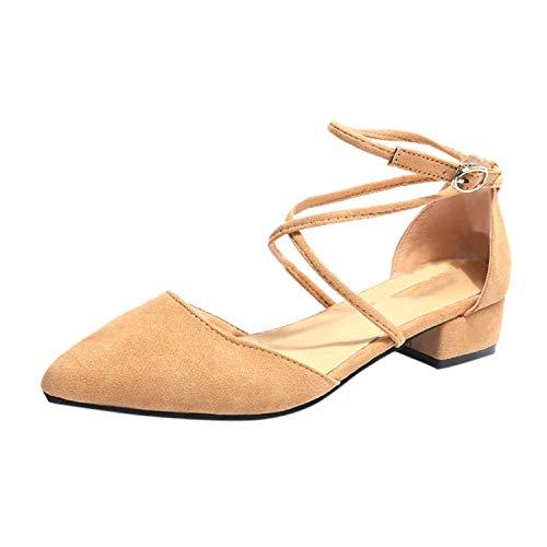 Scarpe da Donna con Tacco, Stile Casual, Punta a Punta, Cinturino con Fibbia, Tacco Quadrato, Verde (Cachi), 39.5 EU