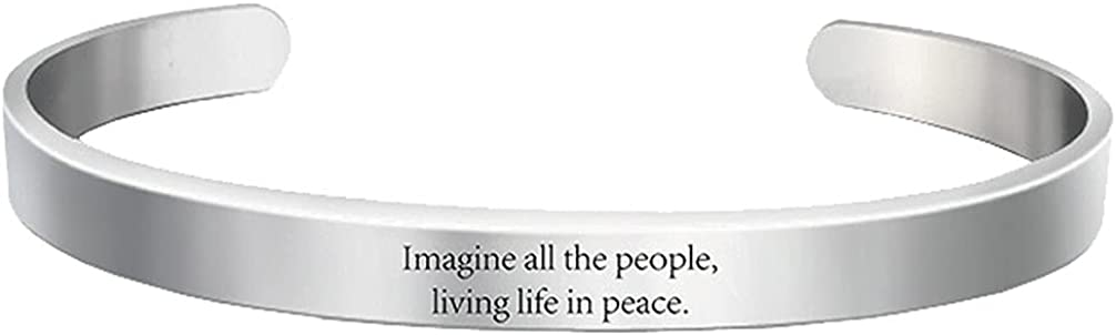 Motivational Imagine All The People Living Life in Peace Cuff Bracelets for Women Girls Strength Gifts Stainless Steel Bangle Open Bracelet Hidden Message Inspirational Graduation Birthday Jewelry
