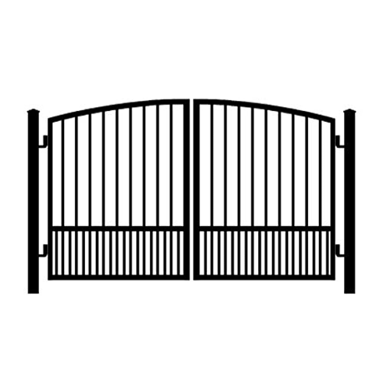 StandardGates - Wrought Iron Driveway Gate Kit - 9 ft 0 in, Dual Swing, Puppy Pickets, Arched