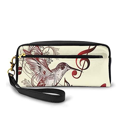 Con bolsa de lápiz con cremallera, pájaro volador y notas musicales Clef Cinco líneas personal musical creativo artístico adornado, estuche pequeño maquillaje bolsa