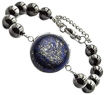Wallystone Gems Premium Shungite Bracelet with Gemstone Cabochon for Men and Women Neutralizer EMF for Root Chakra Balancing  #  Lapis Lazuli 5.5 -6.5