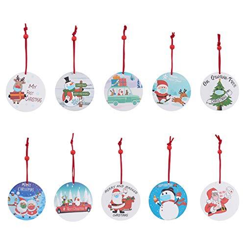 YARNOW 10 peças ornamento de Natal 2020 pingente de pendurar personalizado Papai Noel boneco de neve alce papel higiênico ornamento sobrevivente para decoração de parede de lareira de Natal