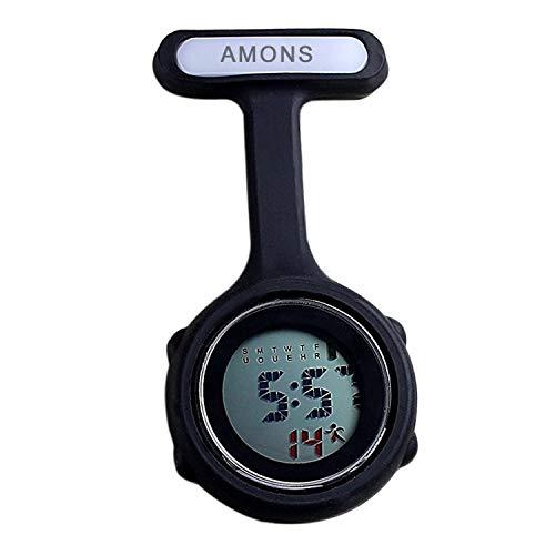Digital Multifunktion Schwesternuhr mit Anstecknadel Taschenuhr (schwarz)