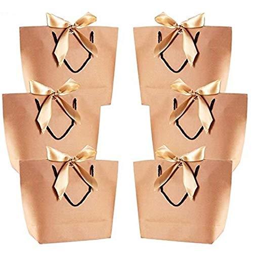 LOOEST 10pc de Gran tamaño del Embalaje Caja de Regalo de Oro de la manija de Papel de Regalo Bolsas de Papel de Kraft con Las manijas Favor Baby Shower Fiesta de cumpleaños de Boda Gift