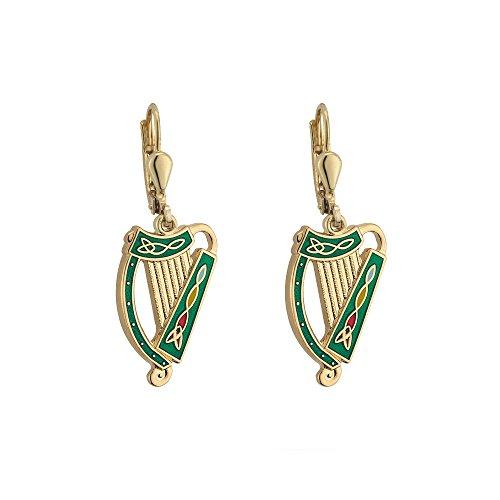 Tara Irish Harp Earrings Gold Plated & Colored Enamel Made in Ireland