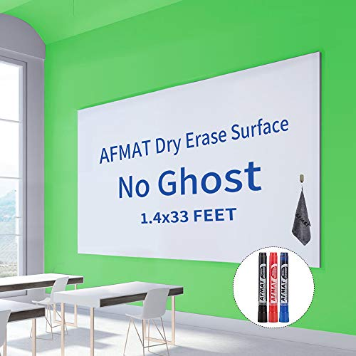 White Board Paper, Whiteboard Wallpaper, Dry Erase Contact Paper, White Board Stickers for Wall/Office/School/Kids Painting, 396'' x 16.8''/1.4 x 33 ft, 3 White Board Markers