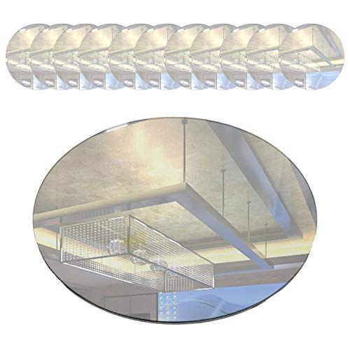 Houseables Mirror Centerpieces, Round Tray, 12 Pk, 10', Glass, for Wedding Table, Party Décor, Reception, Vanity, Craft, Candle Plate Set, Decorative Tiles, Flat, Lightweight Charger, Modern