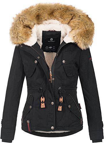 Navahoo warme Damen Designer Winter Jacke Winterjacke mit Kapuze und Teddyfell B643 [B643-Pearl-Schwarz-Gr.S]