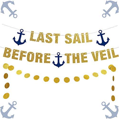 LaVenty Set of 2 Last Sail Before the Veil Banner Nautical Bachelorette Party Banner Sailor Theme Party Decor Anchor Cruise Banner Bachelorette Cruise Decorations