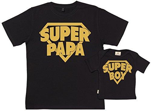 Spoilt Rotten SR - Geschenkpackung Baby Geschenkset - Super Papa & Super Boy - Set zur Geburt Vater T-Shirt und Baby T-Shirt in Geschenkbox - Vater Baby Geschenkset in Geschenkbox - Schwarz, XL & 0-6 Monate