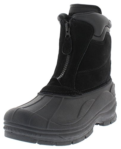 Weatherproof Trek Zip Up Waterproof Snow Boots for Men | Thermolite, Suede Ankle High Winter Boots Size-9 M US Black