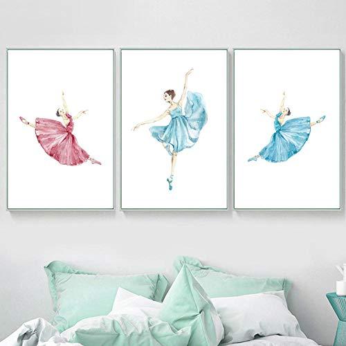 LKLKK Acuarela Bailarina de Ballet nórdico póster e impresión Mural Lienzo Pintura Mural Sala de Estar habitación de niña hogar 40x60cmx3 sin Marco