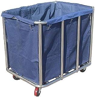 Panier à linge robuste avec roulettes et sac amovible, cadre en acier inoxydable, marron/bleu (couleur : Style-2)