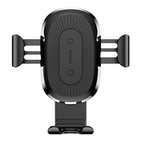 Baseus Cargador Inalámbrico Coche, Soporte para Teléfono de Coche Qi, Cargador Rápido para iPhone XR/XS/XS Max/X/8/8Plus, Galaxy Note 9/S9/S8/Note 8, Negro