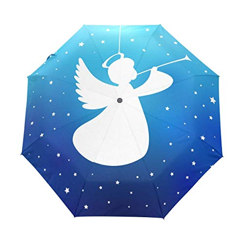 Engel Trompete Silhouette Sternengalaxie Stern Auto Öffnen Schließen Faltbarer Regenschirm