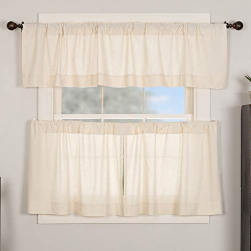 Brooke Simple Tier Curtains, Set of 2, 24' Long, Natural Cream Linen Linen/Cotton Blend, Modern Country Urban Farmhouse Style Café Kitchen Curtains, Bathroom, Dining Room