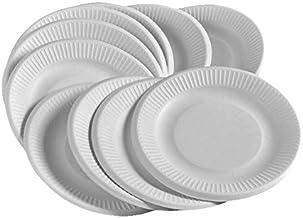 qinger bow 100 piezas de papel blanco Placas 9 pulgadas/23 cm para fiesta y hogar