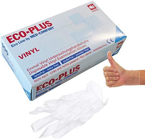 ECO PLUS Handschuhe Vinyl puderfrei natur Einmalhandschule, 100 Stück (M)
