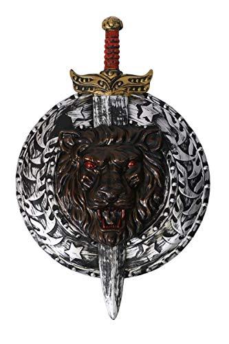 I LOVE FANCY DRESS LTD Juego de Armas para Disfraz con Escudo de Gladiador y Espada, Color Negro y Plateado