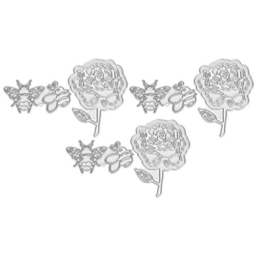 TEANQIkejitop 6 Unids Cutting Die for Crafts Metal Rose Rose DIY Decorative Craft Supplies Fressing Dies Invitación de Boda Die Cuts Plantillas para Scrapbooking Tarjeta Hacer Suministros