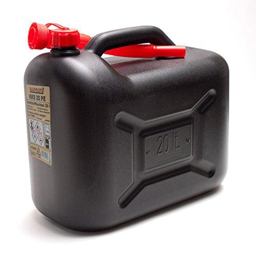 Benzinkanister KKS 20 PE 20L Benzin-Kanister schwarz 20 Liter Diesel Kraftstoffkanister UN