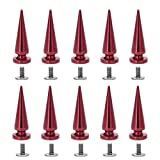 Uviviu 20 Pcs 29mm Spike and Studs, Metal Rivet Screw on Cone for Leather Crafts Punk DIY Clothing (Red)