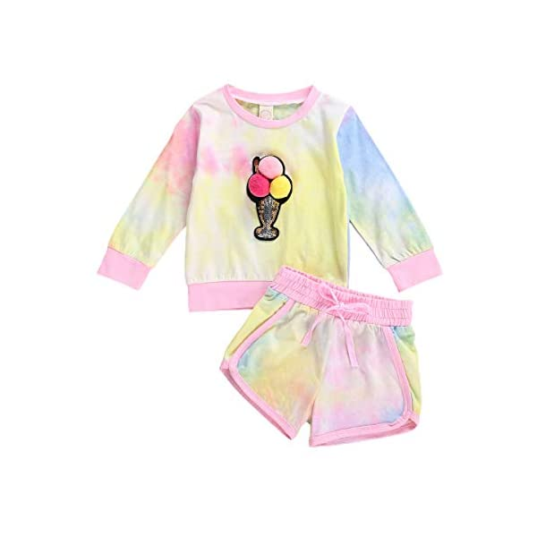 Infant Toddler Baby Girl Tie Dye Outfit Pompom Sweatshirt Pullover Top Drawstring Shorts Pants Fall Winter Clothes