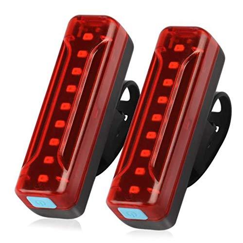 CareMont Luz Trasera de Bicicleta Recargable USB de 2 Piezas, Luces Traseras de Bicicleta LED Ultrabrillantes de 1200 MAh, 5 Opciones de Modo de Luz