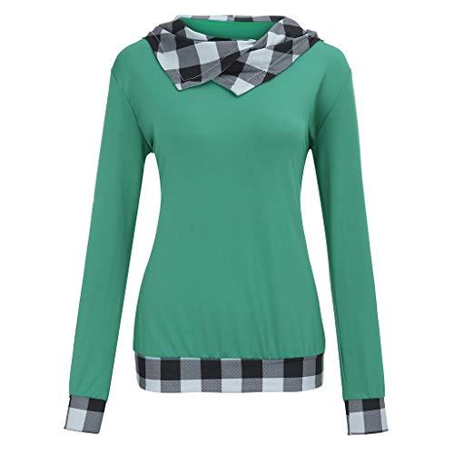 COOKI Women's Long Sleeve Sweatshirts Plus Size Plaid Print Hoodie Sweatshirt Hooded Pullover Sweaters Jumper Top Shirts Green