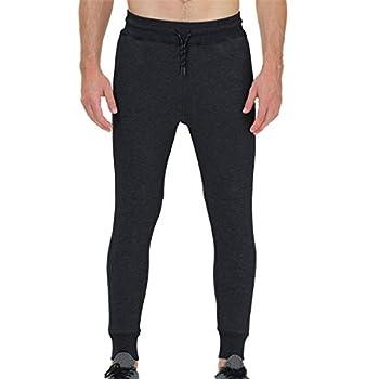 snowhite Mens Casual Jogger Sweatpants Pant - Leisure Fashion Sport Pants with Pockets and Elastic Waist Black