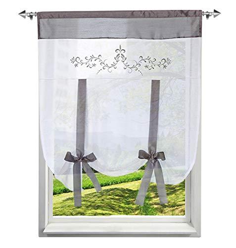 BAILEY JO 1Pc Store Romain Photique Passe Tringle avec Fleurs Impression Décoration de Fenêtre Chambre/Salle de Bain/Balcon/Cuisine (Gris, LxH/60 x120cm)