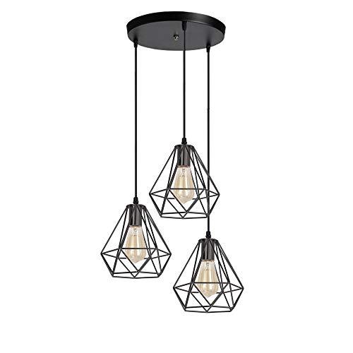 iDEGU 3 Lampen Kronleuchter Hängeleuchte Industrielle Deckenleuchte Retro aus Metall Hängeleuchte Lampenschirm Design Käfig E27 Deckenlampe für Wohnzimmer Esszimmer Küche - Ø20 cm, Schwarz