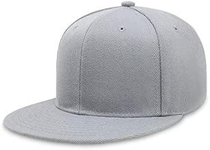 CHOK.LIDS Flat Brim Visor Classic Snapback Hat Blank Adjustable High Top End Trendy Color Style Modern Elite Baseball Cap (London Grey)