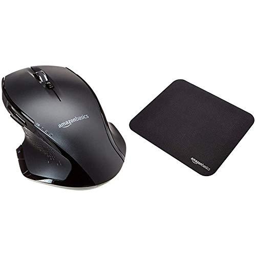 AmazonBasics - Ergonomische kabellose Maus mit Schnell-Scrolling, Normale Größe & Gaming-Mauspad
