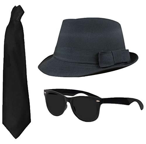 I LOVE FANCY DRESS LTD 3 TEILIGES Blues Brothers Set , Filz Hut MIT DEM Durchmesser VON 58 cm , Schwarze Sonnenbrille UND Schwarze Krawatte
