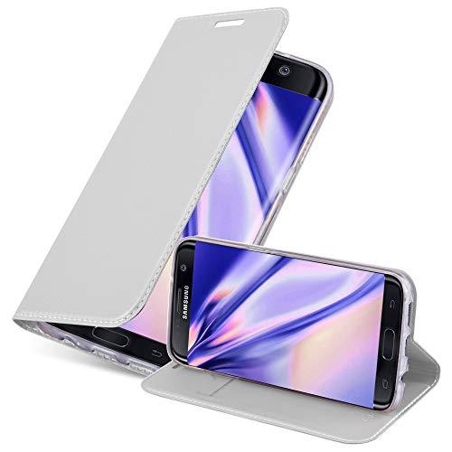 Cadorabo Funda Libro para Samsung Galaxy S7 Edge en Classy Plateado – Cubierta Proteccíon con Cierre Magnético, Tarjetero y Función de Suporte – Etui Case Cover Carcasa