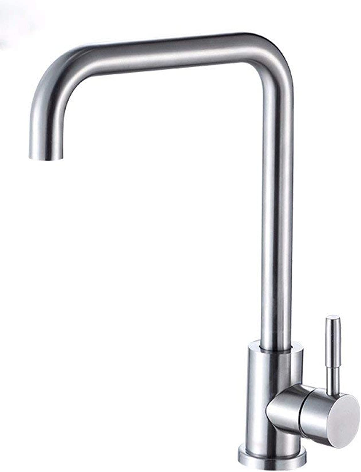 Oudan Stainless Steel hot and cold click cold kitchen washbasin click the handle Single Hole bathroom sink and faucet