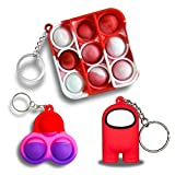 JANESVISSY Mini Fidget Toys Keychain, Simple Dimple Push pop Bubble Figetget Toys Pack, Red Among Us Toys Sensory Stress Relief Gifts for Boys and Girls(3Pack)